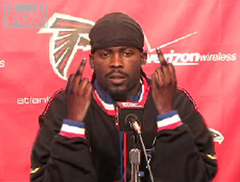 Michael Vick looks like such a sweet guy. I can definitely see what Kijafa Frink sees in him. Uh-huh.